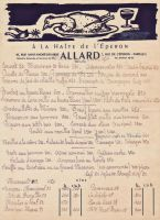A la Halte de l&lsquo;Eperon<br />Restaurant Allard<br />41 rue Saint Andr&#233; des Arts<br />1 rue de l&lsquo;Eperon &nbsp;Paris<br />Menu du 09 avril 1954<br />Illustration: Paul Colin
